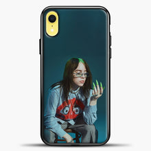 Load image into Gallery viewer, Billie Ailish Green Nails iPhone XR Case, Black Plastic Case | casedilegna.com