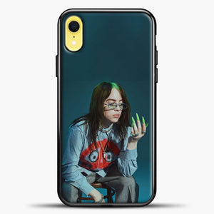 Billie Ailish Green Nails iPhone XR Case, Black Plastic Case | casedilegna.com