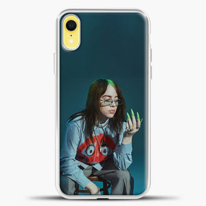 Billie Ailish Green Nails iPhone XR Case, White Plastic Case | casedilegna.com