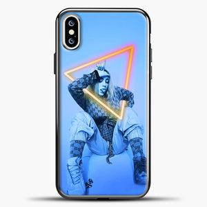 Billie Eilish Blue Background iPhone XS Case, Black Plastic Case | casedilegna.com