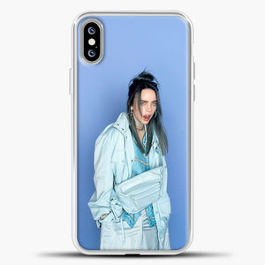 Billie Eilish Blue Background iPhone XS Max Case, White Plastic Case | casedilegna.com