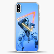 Load image into Gallery viewer, Billie Eilish Blue Background iPhone XS Case, White Plastic Case | casedilegna.com