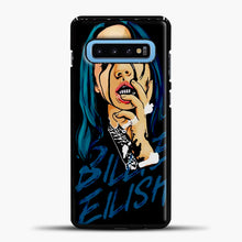 Load image into Gallery viewer, Billie Eilish Caricature Black Samsung Galaxy S10 Case, Black Plastic Case | casedilegna.com