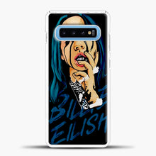 Load image into Gallery viewer, Billie Eilish Caricature Black Samsung Galaxy S10 Case, White Plastic Case | casedilegna.com