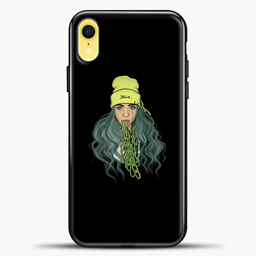 Billie Eilish Chain Tongues iPhone XR Case, Black Plastic Case | casedilegna.com