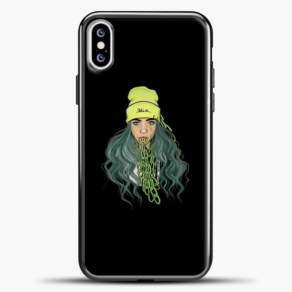 Billie Eilish Chain Tongues iPhone XS Case, Black Plastic Case | casedilegna.com