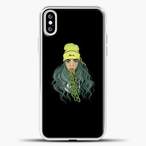 Billie Eilish Chain Tongues iPhone XS Case, White Plastic Case | casedilegna.com