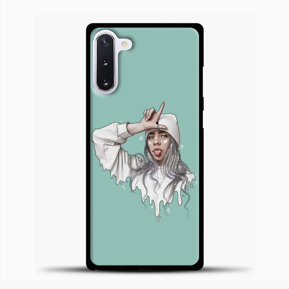 Billie Eilish Drawing Blue Background Samsung Galaxy Note 10 Case, Black Plastic Case | casedilegna.com