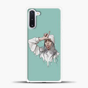 Billie Eilish Drawing Blue Background Samsung Galaxy Note 10 Case, White Plastic Case | casedilegna.com