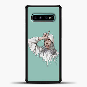 Billie Eilish Drawing Blue Background Samsung Galaxy S10e Case, Black Plastic Case | casedilegna.com