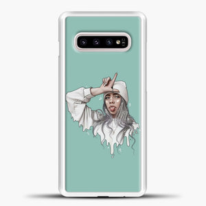 Billie Eilish Drawing Blue Background Samsung Galaxy S10e Case, White Plastic Case | casedilegna.com