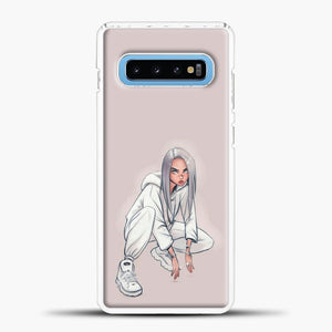 Billie Eilish Drawing Pink Background Samsung Galaxy S10 Case, White Plastic Case | casedilegna.com