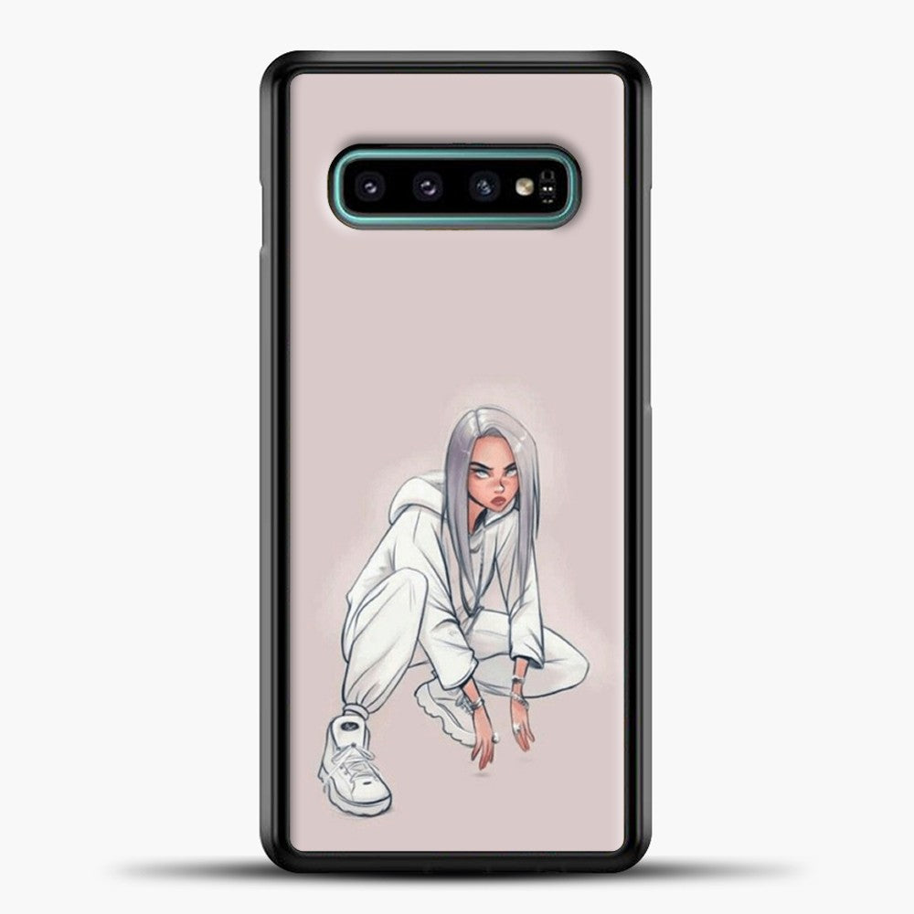 Billie Eilish Drawing Pink Background Samsung Galaxy S10e Case, Black Plastic Case | casedilegna.com