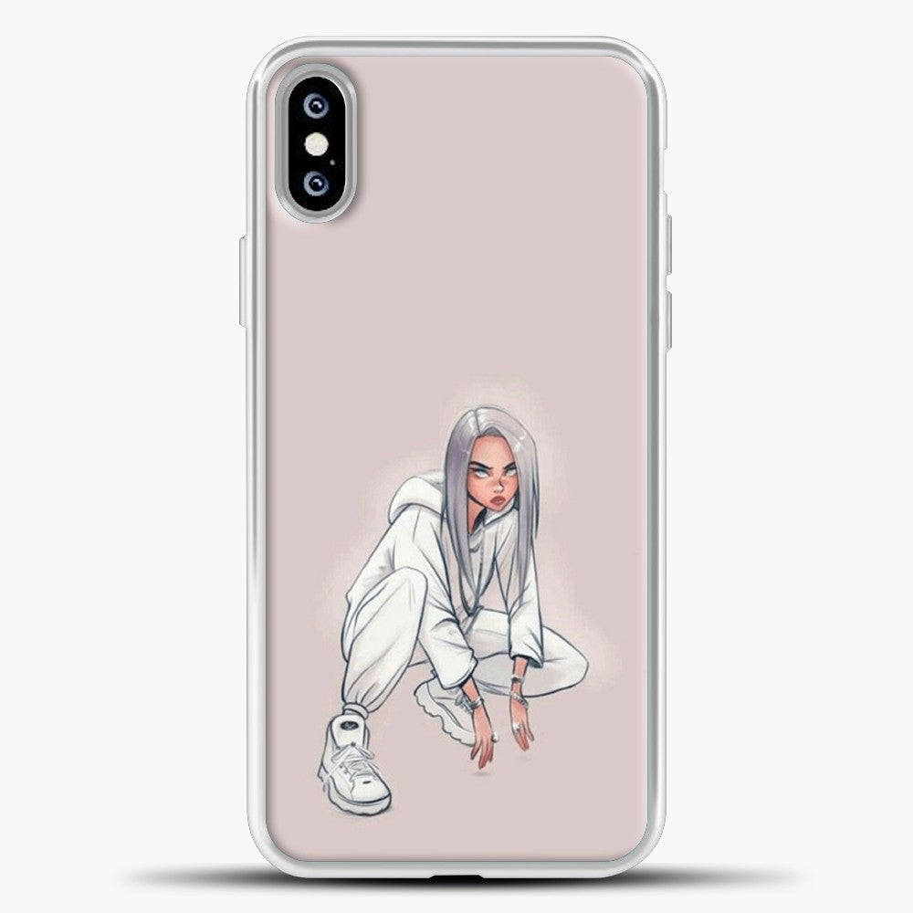 Billie Eilish Drawing Pink Background iPhone XS Max Case, White Plastic Case | casedilegna.com