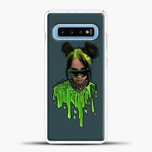 Billie Eilish Green Slime Samsung Galaxy S10 Case, White Plastic Case | casedilegna.com