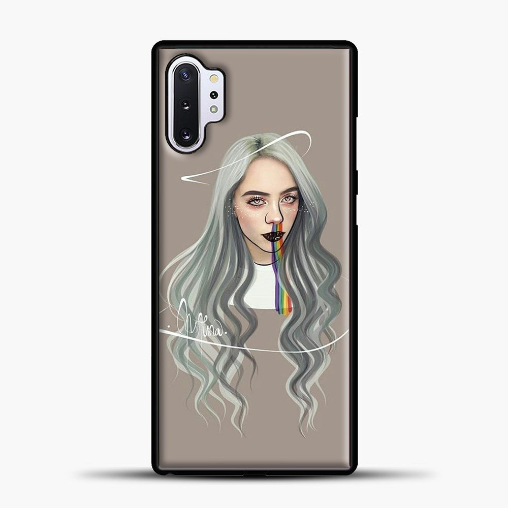 Billie Eilish Grey Hair Samsung Galaxy Note 10 Plus Case, Black Plastic Case | casedilegna.com