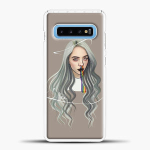 Billie Eilish Grey Hair Samsung Galaxy S10 Case, White Plastic Case | casedilegna.com