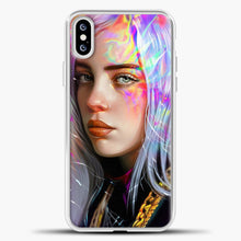 Load image into Gallery viewer, Billie Eilish Hologram Art iPhone XS Case, White Plastic Case | casedilegna.com