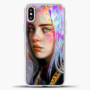Billie Eilish Hologram Art iPhone XS Case, White Plastic Case | casedilegna.com