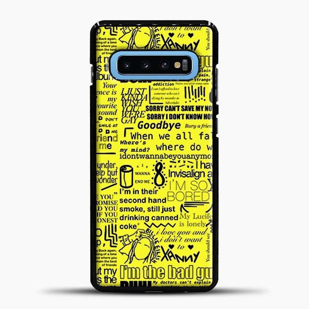 Billie Eilish IM The Bad Guy Yellow Samsung Galaxy S10 Case, Black Plastic Case | casedilegna.com