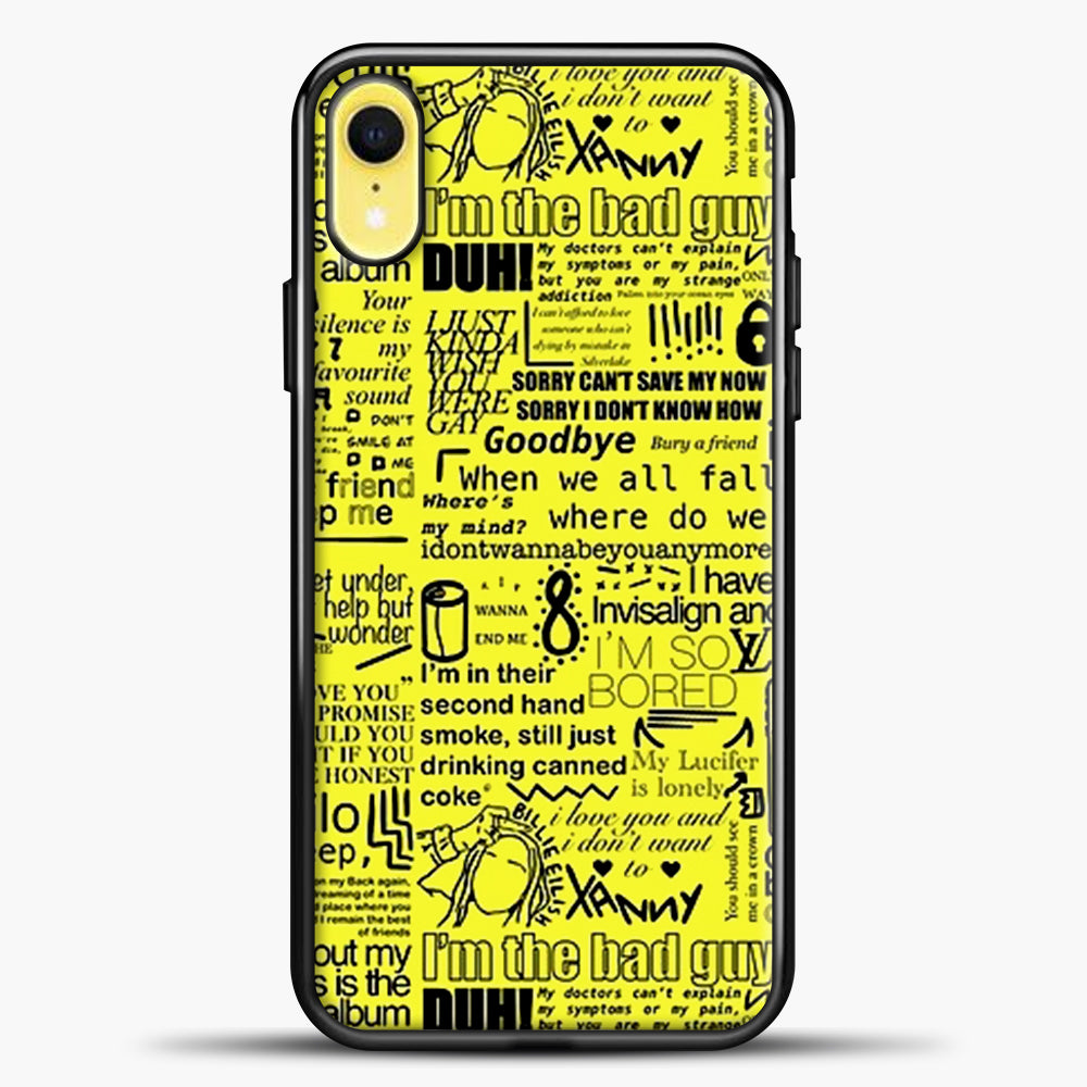 Billie Eilish IM The Bad Guy Yellow iPhone XR Case, Black Plastic Case | casedilegna.com
