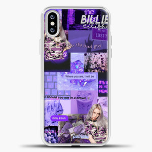 Billie Eilish ItS All In Your Head Purple iPhone XS Case, White Plastic Case | casedilegna.com
