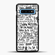 Load image into Gallery viewer, Billie Eilish Lyrics Bad Guy White Samsung Galaxy S10 Case, Black Plastic Case | casedilegna.com