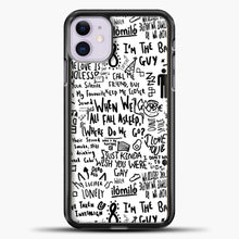 Load image into Gallery viewer, Billie Eilish Lyrics Bad Guy White iPhone 11 Case, Black Plastic Case | casedilegna.com