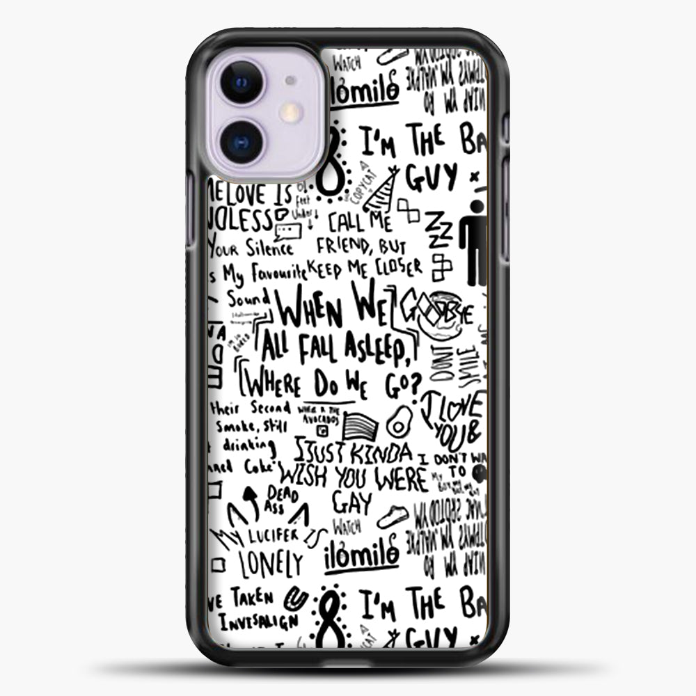 Billie Eilish Lyrics Bad Guy White iPhone 11 Case, Black Plastic Case | casedilegna.com