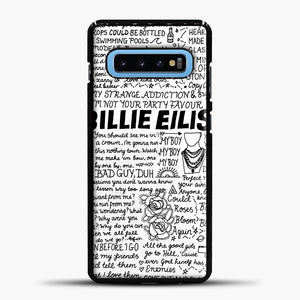 Billie Eilish Lyrics White Samsung Galaxy S10 Case, Black Plastic Case | casedilegna.com