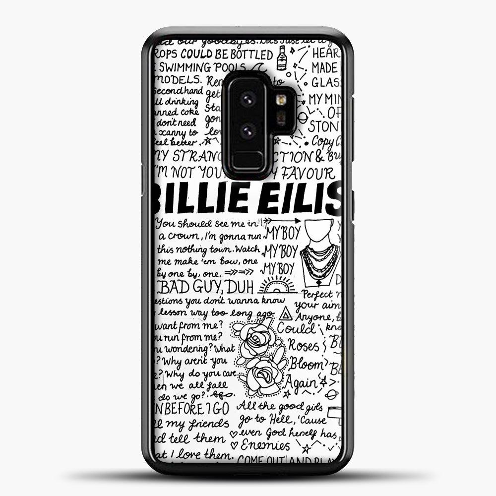 Billie Eilish Lyrics White Samsung Galaxy S9 Plus Case, Black Plastic Case | casedilegna.com