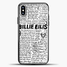 Load image into Gallery viewer, Billie Eilish Lyrics White iPhone XS Case, Black Plastic Case | casedilegna.com