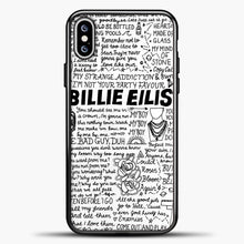 Load image into Gallery viewer, Billie Eilish Lyrics White iPhone XS Max Case, Black Plastic Case | casedilegna.com
