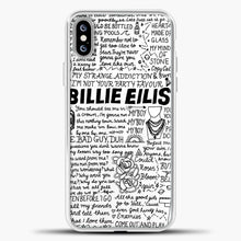 Load image into Gallery viewer, Billie Eilish Lyrics White iPhone XS Max Case, White Plastic Case | casedilegna.com