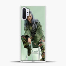 Load image into Gallery viewer, Billie Eilish Sit Tosca Background Samsung Galaxy Note 10 Plus Case, White Plastic Case | casedilegna.com