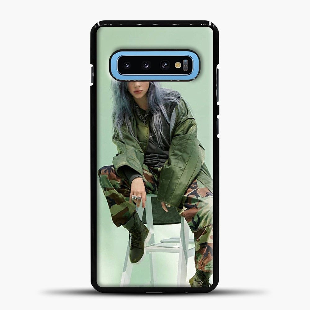Billie Eilish Sit Tosca Background Samsung Galaxy S10 Case, Black Plastic Case | casedilegna.com