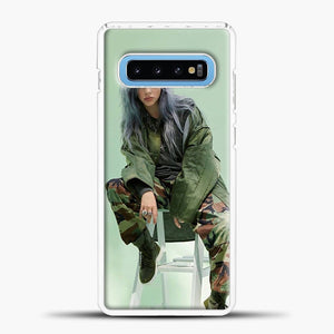 Billie Eilish Sit Tosca Background Samsung Galaxy S10 Case, White Plastic Case | casedilegna.com