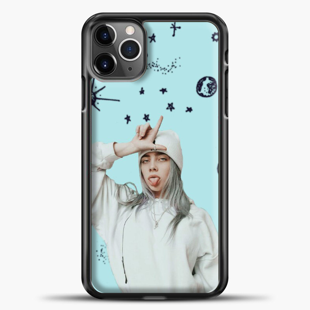 Billie Eilish Space Blue iPhone 11 Pro Max Case, Black Plastic Case | casedilegna.com