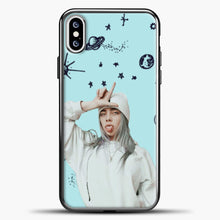 Load image into Gallery viewer, Billie Eilish Space Blue iPhone XS Case, Black Plastic Case | casedilegna.com
