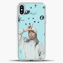 Load image into Gallery viewer, Billie Eilish Space Blue iPhone XS Case, White Plastic Case | casedilegna.com