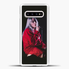 Load image into Gallery viewer, Billie Eilish The Singing Samsung Galaxy S10e Case, White Plastic Case | casedilegna.com