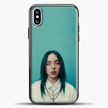 Load image into Gallery viewer, Billie Eilish Tosca Background iPhone XS Case, Black Plastic Case | casedilegna.com