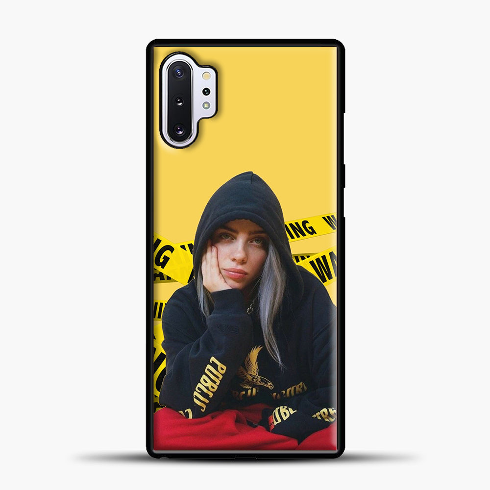 Billie Eilish Warning Yellow Samsung Galaxy Note 10 Plus Case, Black Plastic Case | casedilegna.com