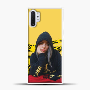 Billie Eilish Warning Yellow Samsung Galaxy Note 10 Plus Case, White Plastic Case | casedilegna.com