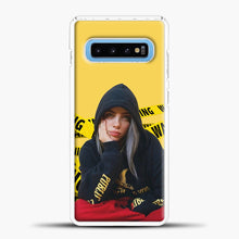 Load image into Gallery viewer, Billie Eilish Warning Yellow Samsung Galaxy S10 Case, White Plastic Case | casedilegna.com
