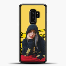 Load image into Gallery viewer, Billie Eilish Warning Yellow Samsung Galaxy S9 Plus Case, Black Plastic Case | casedilegna.com
