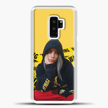 Load image into Gallery viewer, Billie Eilish Warning Yellow Samsung Galaxy S9 Plus Case, White Plastic Case | casedilegna.com
