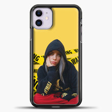 Load image into Gallery viewer, Billie Eilish Warning Yellow iPhone 11 Case, Black Plastic Case | casedilegna.com