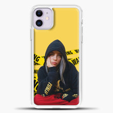 Load image into Gallery viewer, Billie Eilish Warning Yellow iPhone 11 Case, White Plastic Case | casedilegna.com