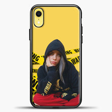 Load image into Gallery viewer, Billie Eilish Warning Yellow iPhone XR Case, Black Plastic Case | casedilegna.com